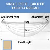 Single Piece - Gold Taffeta Prefabricated Ceiling Drape Panel - Choose Length and Drop!
