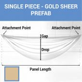 Single Piece - Gold Sheer Prefabricated Ceiling Drape Panel - Choose Length and Drop!