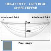Single Piece -Grey Blue Sheer Prefabricated Ceiling Drape Panel - Choose Length and Drop!