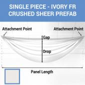 Single Piece - Ivory Crushed Sheer Prefabricated Ceiling Drape Panel - Choose Length and Drop!