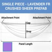 Single Piece - Lavender Crushed Sheer Prefabricated Ceiling Drape Panel - Choose Length and Drop!