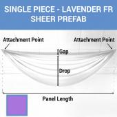 Single Piece -Lavender FR Sheer Prefabricated Ceiling Drape Panel - Choose Length and Drop!