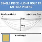 Single Piece - Light Gold Taffeta Prefabricated Ceiling Drape Panel - Choose Length and Drop!