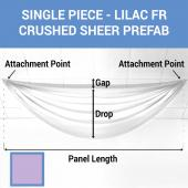 Single Piece - Lilac Crushed Sheer Prefabricated Ceiling Drape Panel - Choose Length and Drop!