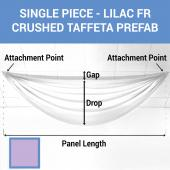 Single Piece - Lilac Crushed Taffeta Prefabricated Ceiling Drape Panel - Choose Length and Drop!