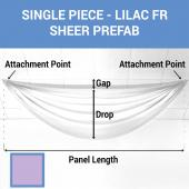 Single Piece -Lilac FR Sheer Prefabricated Ceiling Drape Panel - Choose Length and Drop!
