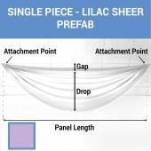 Single Piece - Lilac Sheer Prefabricated Ceiling Drape Panel - Choose Length and Drop!