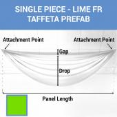 Single Piece - Lime Taffeta Prefabricated Ceiling Drape Panel - Choose Length and Drop!