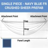 Single Piece - Navy Blue Crushed Sheer Prefabricated Ceiling Drape Panel - Choose Length and Drop!