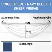 Single Piece -Navy Blue FR Sheer Prefabricated Ceiling Drape Panel - Choose Length and Drop!