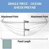 Single Piece -Ocean FR Sheer Prefabricated Ceiling Drape Panel - Choose Length and Drop!