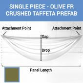 Single Piece - Olive Crushed Taffeta Prefabricated Ceiling Drape Panel - Choose Length and Drop!