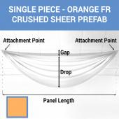 Single Piece - Orange Crushed Sheer Prefabricated Ceiling Drape Panel - Choose Length and Drop!