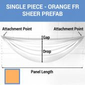 Single Piece -Orange FR Sheer Prefabricated Ceiling Drape Panel - Choose Length and Drop!