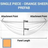 Single Piece - Orange Sheer Prefabricated Ceiling Drape Panel - Choose Length and Drop!