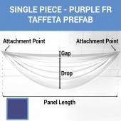 Single Piece - Purple Taffeta Prefabricated Ceiling Drape Panel - Choose Length and Drop!