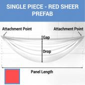 Single Piece - Red Sheer Prefabricated Ceiling Drape Panel - Choose Length and Drop!