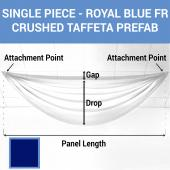 Single Piece - Royal Blue Crushed Taffeta Prefabricated Ceiling Drape Panel - Choose Length and Drop!