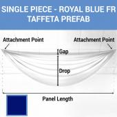 Single Piece - Royal Blue Taffeta Prefabricated Ceiling Drape Panel - Choose Length and Drop!