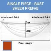 Single Piece -Rust FR Sheer Prefabricated Ceiling Drape Panel - Choose Length and Drop!