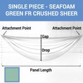 Single Piece - Seafoam Green Crushed Sheer Prefabricated Ceiling Drape Panel - Choose Length and Drop!