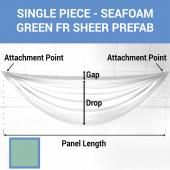 Single Piece -Seafoam Green FR Sheer Prefabricated Ceiling Drape Panel - Choose Length and Drop!