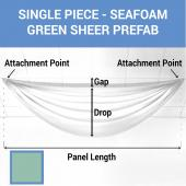 Single Piece - Seafoam Green Sheer Prefabricated Ceiling Drape Panel - Choose Length and Drop!