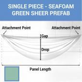 Single Piece - Seafoam Green Sheer Prefabricated Ceiling Drape Panel - Choose Length and Drop!
