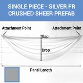Single Piece - Silver Crushed Sheer Prefabricated Ceiling Drape Panel - Choose Length and Drop!