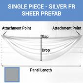 Single Piece -Silver FR Sheer Prefabricated Ceiling Drape Panel - Choose Length and Drop!