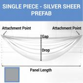 Single Piece - Silver Sheer Prefabricated Ceiling Drape Panel - Choose Length and Drop!