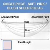 Single Piece - Soft Pink/Blush Sheer Prefabricated Ceiling Drape Panel - Choose Length and Drop!
