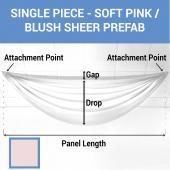 Single Piece - Soft Pink/Blush Sheer Prefabricated Ceiling Drape Panel - Choose Length and Drop!