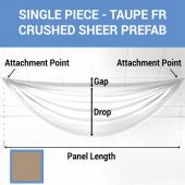 Single Piece - Taupe Crushed Sheer Prefabricated Ceiling Drape Panel - Choose Length and Drop!