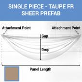 Single Piece -Taupe FR Sheer Prefabricated Ceiling Drape Panel - Choose Length and Drop!