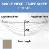Single Piece - Taupe Sheer Prefabricated Ceiling Drape Panel - Choose Length and Drop!