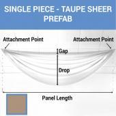 Single Piece - Taupe Sheer Prefabricated Ceiling Drape Panel - Choose Length and Drop!