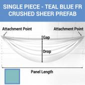 Single Piece - Teal Blue Crushed Sheer Prefabricated Ceiling Drape Panel - Choose Length and Drop!