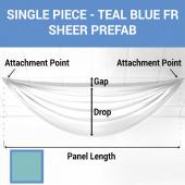 Single Piece -Teal Blue FR Sheer Prefabricated Ceiling Drape Panel - Choose Length and Drop!