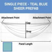 Single Piece - Teal Blue Sheer Prefabricated Ceiling Drape Panel - Choose Length and Drop!