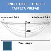 Single Piece - Teal Taffeta Prefabricated Ceiling Drape Panel - Choose Length and Drop!