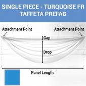 Single Piece - Turquoise Taffeta Prefabricated Ceiling Drape Panel - Choose Length and Drop!