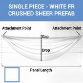 Single Piece - White Crushed Sheer Prefabricated Ceiling Drape Panel - Choose Length and Drop!