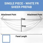 Single Piece -White FR Sheer Prefabricated Ceiling Drape Panel - Choose Length and Drop!