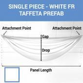 Single Piece - White Taffeta Prefabricated Ceiling Drape Panel - Choose Length and Drop!