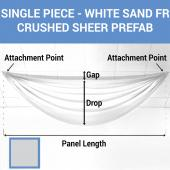 Single Piece - White Sand Crushed Sheer Prefabricated Ceiling Drape Panel - Choose Length and Drop!