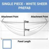 Single Piece -White Sheer Prefabricated Ceiling Drape Panel - Choose Length and Drop!