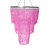 """20"""" Pink Jewel Bead Swag Chandelier - Medium"""
