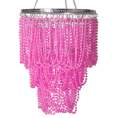 "10"" Pink Jewel Bead Swag Chandelier - Small"
