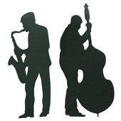 Sax and Bass Player Cut Out Silhouette